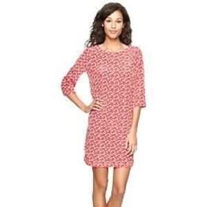 Gap Coral Shift Dress with Cat Pattern